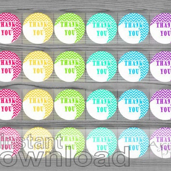 1 2/3 in round label / tag, printable, thank you circle, 6 color, instant download, thank you label, wedding, birthday, party, baby shower