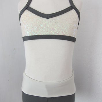 ridescent Ivory Sequined Adjustable Bra Top with Mat Grey Trim and Matching Mat Grey Convertible High-Waist Shorts with Mat Ivory Waist