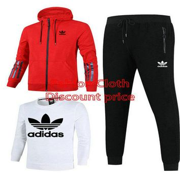 Adidas Jacket Sweater New Style Fashion Trend Three-Piece Suit For Men 18928 L-4XL Red White