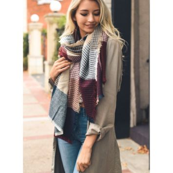 Soft Burgundy & Blue Plaid Waffle Style Knit Blanket Scarf