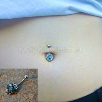 Cute Green Opal Vintage Belly Button Ring Navel Piercing 14ga Body Jewelry Navel Jewelry 316L Surgical Steel Belly Button Body Jewelry