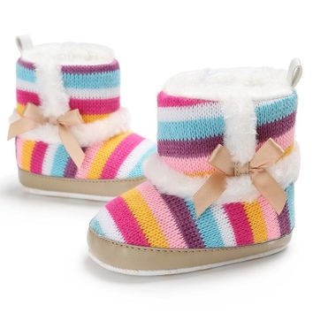 Baby Girl Rainbow Stripe Coral Fleece Snow Boots Bowknot Anti-Slip Sole Shoes