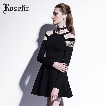 Rosetic Gothic Mini Dress Black Fashion Hollow Autumn Women Casual Dress Dark Street Wild Sexy Preppy A-Line Goth Mini Dresses