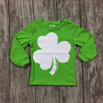 new St Patrick baby girls long sleeve cotton boutique top T-shirt raglans clothes lucky like a unicorn ruffles lemon shamrocks