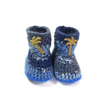 Baby Boy Booties - Blue Crochet Booties - Boy Slipper Boots - Christening Shoes - Infant Slipper Boots