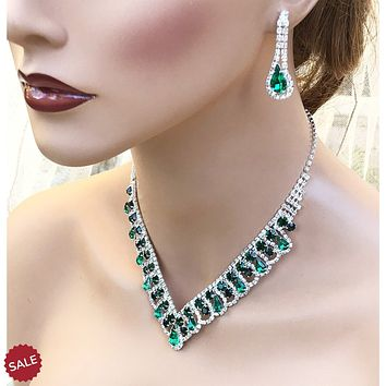 Emerald Green Rhinestone Crystal V Collar Bridal Necklace