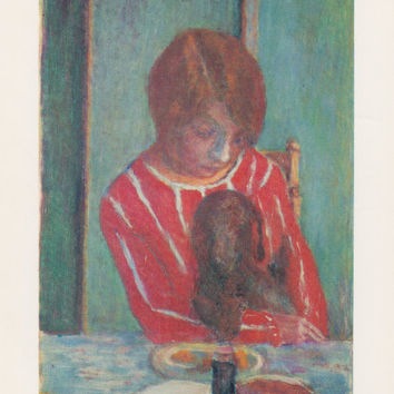 "Vintage Swiss Postcard -- Pierre Bonnard ""Woman and Dog"" -- 1970s"
