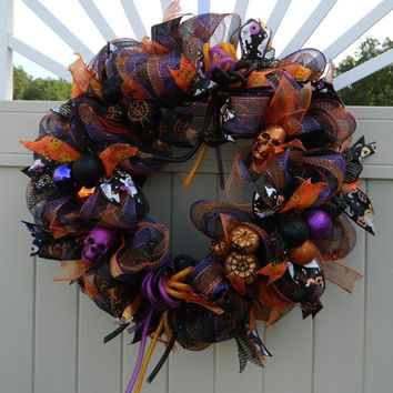 Deco Mesh Halloween Wreath, Pumpkin skull wreath, Purple Orange Black Mesh Wreath, Halloween decor, Pumpkin Wreath, skull wreath