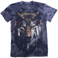 Cameo Brown Wolf Print Tie Dye T-Shirt