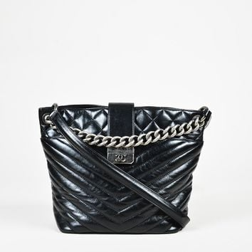 "Chanel Black ""Aged Calfskin"" Chevron Quilted Leather Chain Link Shoulder Bag"