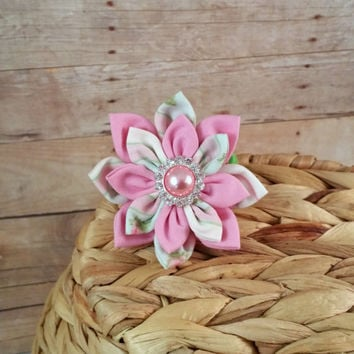 Dog Collar Flower // Floral Stripe // Hair Accessory // Pink Flower // Pet Flower // Collar Accessory // Pretty Flower // Fabric Flower