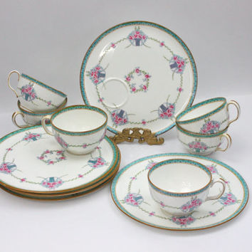 Antique Minton Snack Plate and Tea Cup / Tea Time / SET of 6