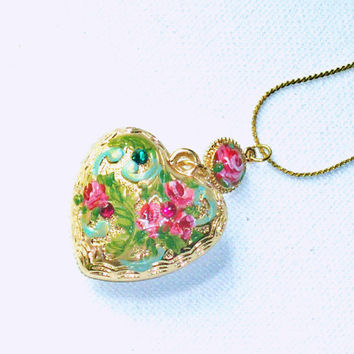 Romantic Large Gold Puffy Heart Pendant Hand Painted Pink Roses Necklace