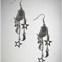 Silver Chain Moon and Star Dangle Earrings - Spencer's