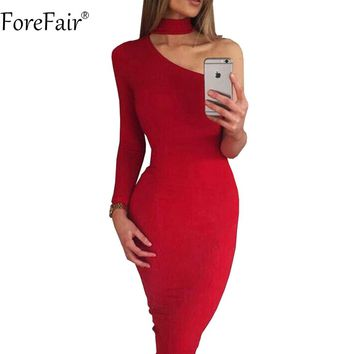ForeFair One Shoulder Club Dress Women Female Midi Bodycon Sexy Party Red Dress Winter
