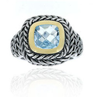 Glitzy Rocks Sterling Silver Blue Topaz Rope Design Ring | Overstock.com