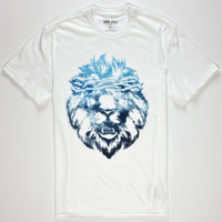 Aura Gold Lion Cloud Mens T-Shirt White  In Sizes
