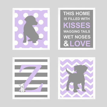 Monogram Print, Initial Monogram, Puppy Wall Decor, Puppy Nursery, Puppy Print, Dog Print, Baby Decor, Kids Wall Art, CUSTOMIZE YOUR COLORS