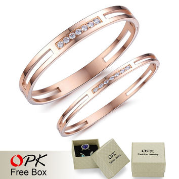 Couple Bracelet & Bangle Crystal Paving