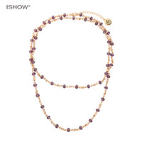 ISHOW Multilayers Necklaces for women purple Glass beads Copper beads statement fashion jewelry Charm bohemian necklace mujer-in Chain Necklaces from Jewelry & Accessories on Aliexpress.com | Alibaba Group