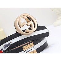 GUCCI street fashion men and women models canvas casual wild simple smooth buckle belt gold