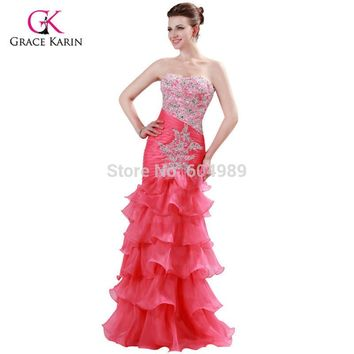 Grace Karin Watermelon Beaded Sweetheart Mermaid Prom Dresses Organza Layer Gown Long Evening Dress Party Dress CL6073