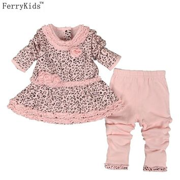New Fashion Baby Girl Clothes Sets Infant Clothing Set Baby Girl Birthday Dresses Set Baby Clothes Leggings Cotton Print