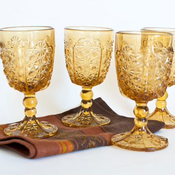 Victorian EAPG Adams & Co Daisy and Button Amber Goblets with Thumbprint Panels