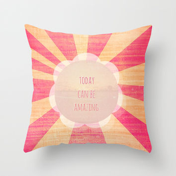 Friendly Reminder Throw Pillow by Bunhugger Design