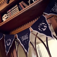 Boo Halloween Bunting in spooky Black and Grey