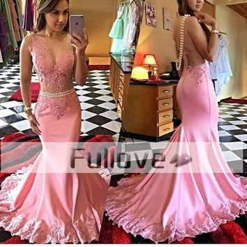Exquisite Pink Pearls Mermaid Evening Party Dress Long 2017 Sheer Lace Appliques Formal Prom Gowns Vestido De Festa Abendkleider