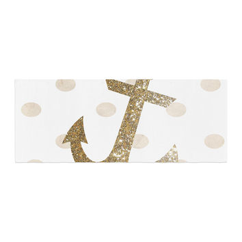 "Nika Martinez ""Glitter Anchor"" Gold Sparkles Bed Runner"