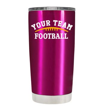 TREK Custom Football Team on Translucent Pink 20 oz Tumbler Cup