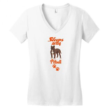 Sleeps With Pitbull Women's V-Neck T-Shirt