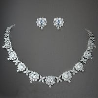 Antique Bridal Necklace & Earring Set With Clear CZ