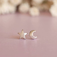 Silver Moon Star Earrings Crescent Moon and Star Studs by matoto