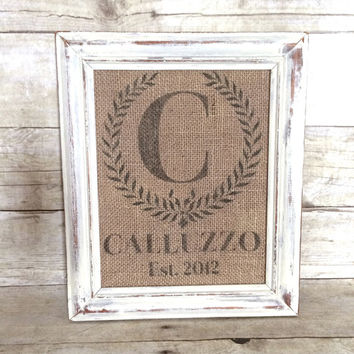 Monogramed Burlap Art Print - Customized - Personalized Wedding Gift - Last Name and Est. Date