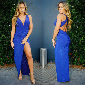 Blue Halter Deep V Neck Cross Back Ruched Asymmetrical hem Maxi Dress