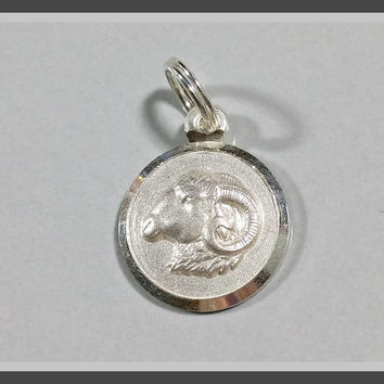 Sterling Silver Charm Capricorn Rams Head Aries March Birthday April Zodiac Sign of the Ram Coin Style Bracelet Charm or Necklace Pendant