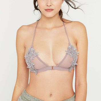 Applique Silver Purple Triangle Bra - Urban Outfitters