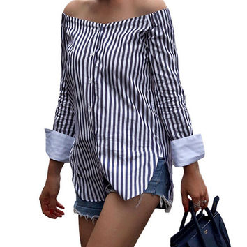 2017 New Fashion Ladies Summer Cotton Off Shoulder Long Sleeve Loose Casual T Shirt Striped Tops