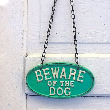 Puppy Sign , Beware of Dog Sign, Vintage Inspired Sign, Aqua Decor, Retro, Man Cave