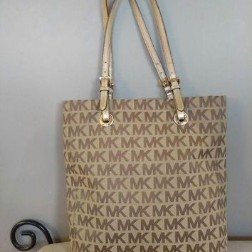 DCCKIN4 michael kors handbag, purse, bag, mk, large, brown.