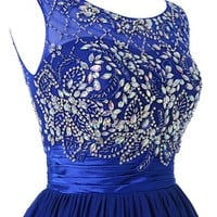 Wedtrend Women's Beading Short Prom Gown Evening Dress Size 2 Royal Blue