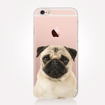 Transparent Pug iPhone Case - Transparent Case - Clear Case - Transparent iPhone 6 - Gel Case - Soft TPU Case - Samsung S7