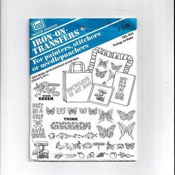 Banar Designs TRL-1021 Ecology at Home Hot Iron Transfers for Textiles, Mushrooms, Animal, Embroidery, Textile Painting, Arts, Craft, UNUSED