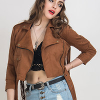 Brown Faux Suede Lapel Fringed Biker Jacket