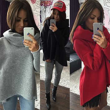 Winter Hoodies Collar Long Sleeve  Sweatshirts Scarf