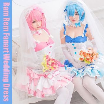 [STOCK]+Veil Anime Re:Life in a different world from zero Rem Ram Fanart Wedding Dress Cosplay Costume Lolita Dress Free ship