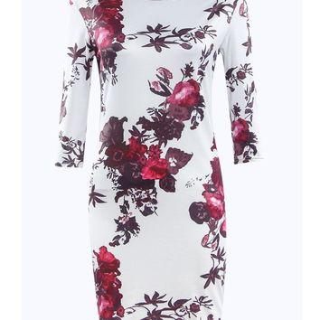 Streetstyle  Casual Boat Neck Floral Printed Bodycon Dress